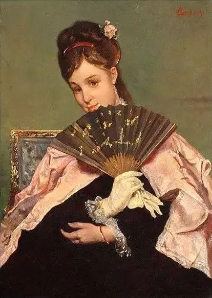 画中女子美丽优雅 个个身穿华丽有质感的服装插图13