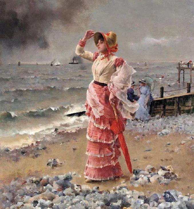 画中女子美丽优雅 个个身穿华丽有质感的服装插图23