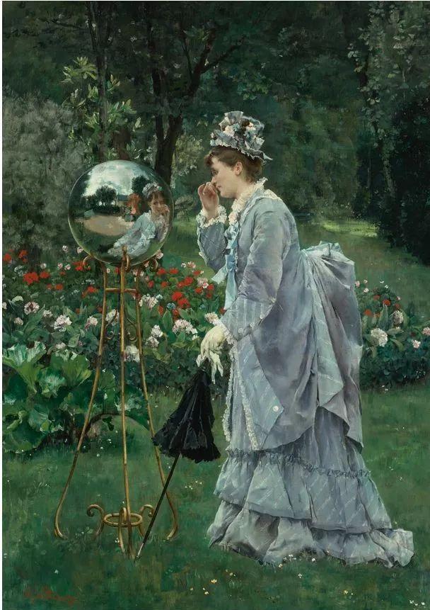 画中女子美丽优雅 个个身穿华丽有质感的服装插图27