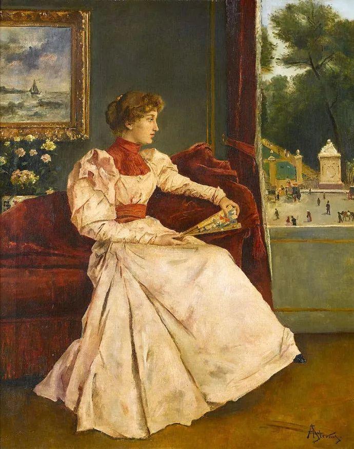 画中女子美丽优雅 个个身穿华丽有质感的服装插图29