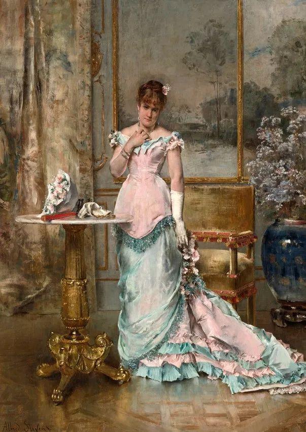 画中女子美丽优雅 个个身穿华丽有质感的服装插图35
