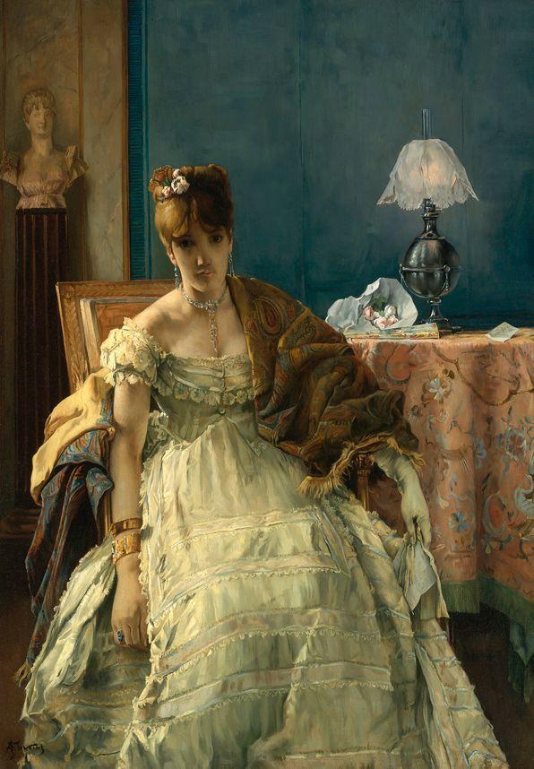 画中女子美丽优雅 个个身穿华丽有质感的服装插图37