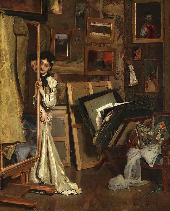 画中女子美丽优雅 个个身穿华丽有质感的服装插图43