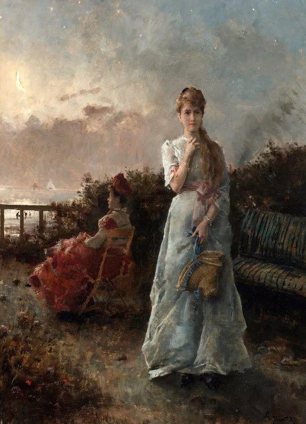 画中女子美丽优雅 个个身穿华丽有质感的服装插图49