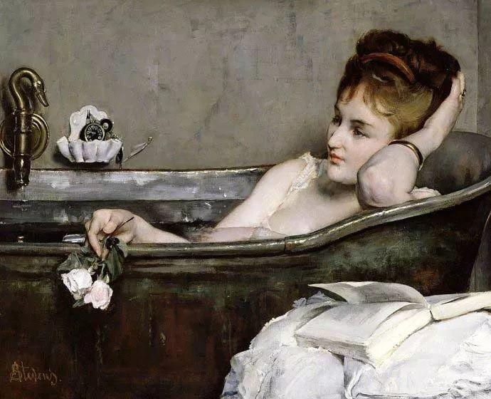 画中女子美丽优雅 个个身穿华丽有质感的服装插图59