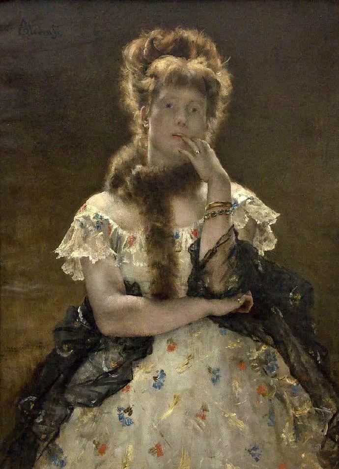 画中女子美丽优雅 个个身穿华丽有质感的服装插图61