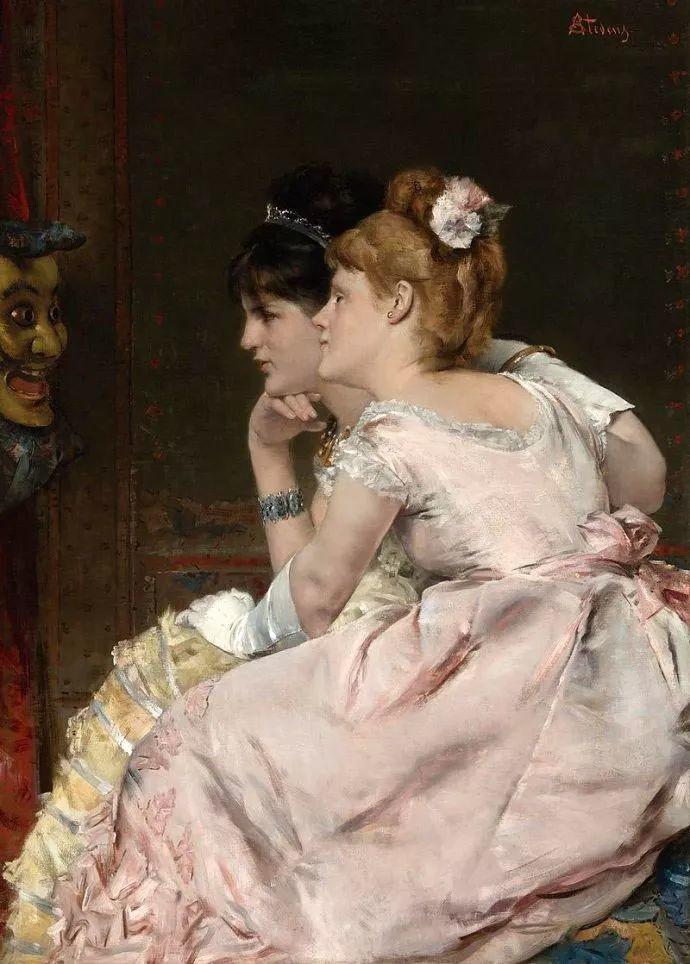 画中女子美丽优雅 个个身穿华丽有质感的服装插图65