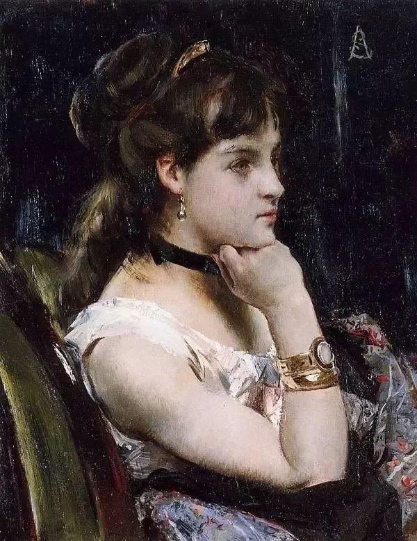 画中女子美丽优雅 个个身穿华丽有质感的服装插图67