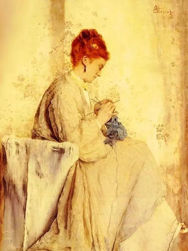 画中女子美丽优雅 个个身穿华丽有质感的服装插图69