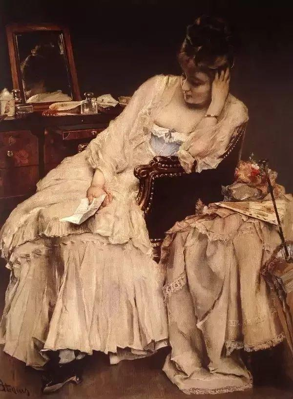 画中女子美丽优雅 个个身穿华丽有质感的服装插图73