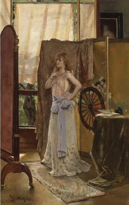 画中女子美丽优雅 个个身穿华丽有质感的服装插图75