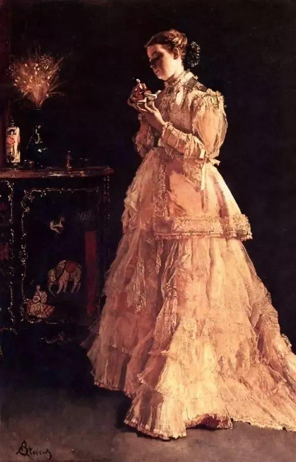 画中女子美丽优雅 个个身穿华丽有质感的服装插图81