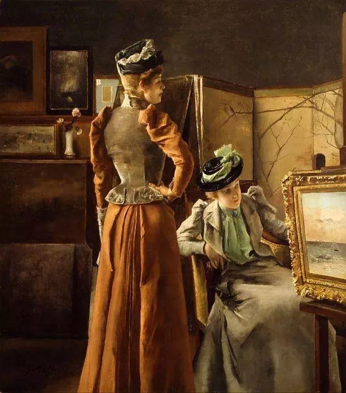 画中女子美丽优雅 个个身穿华丽有质感的服装插图91