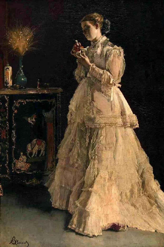 画中女子美丽优雅 个个身穿华丽有质感的服装插图99