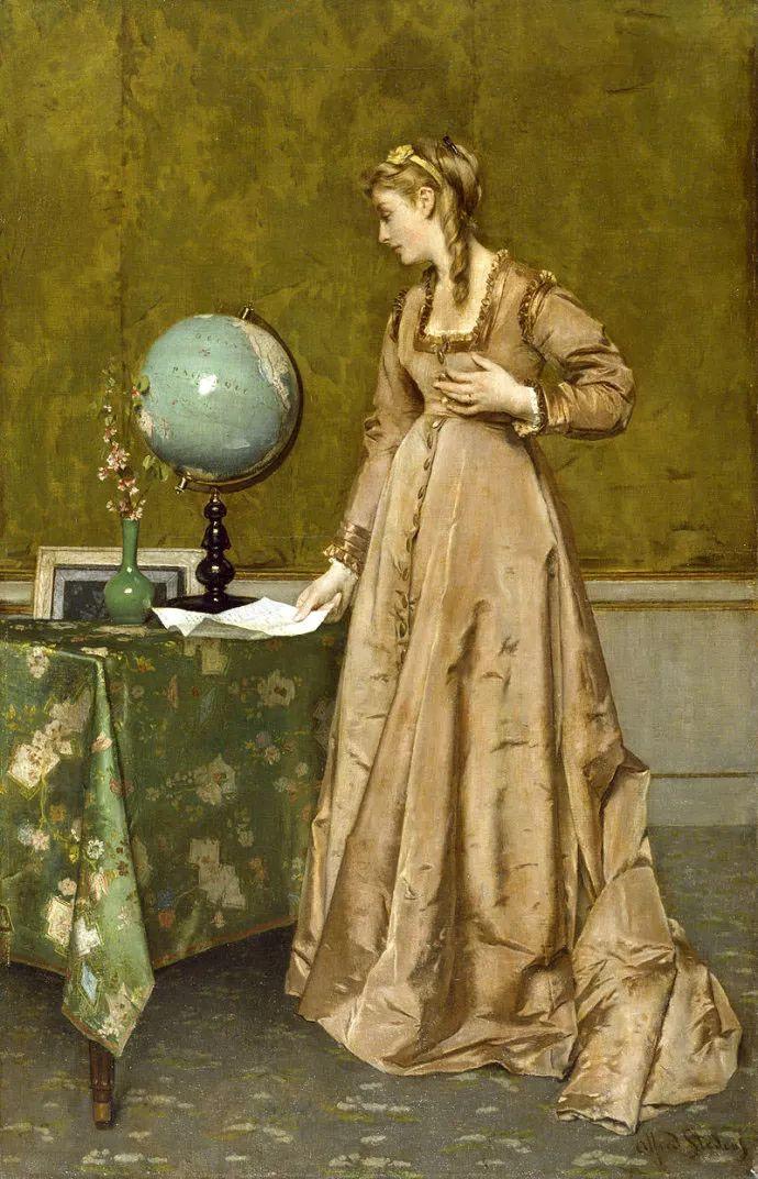 画中女子美丽优雅 个个身穿华丽有质感的服装插图103