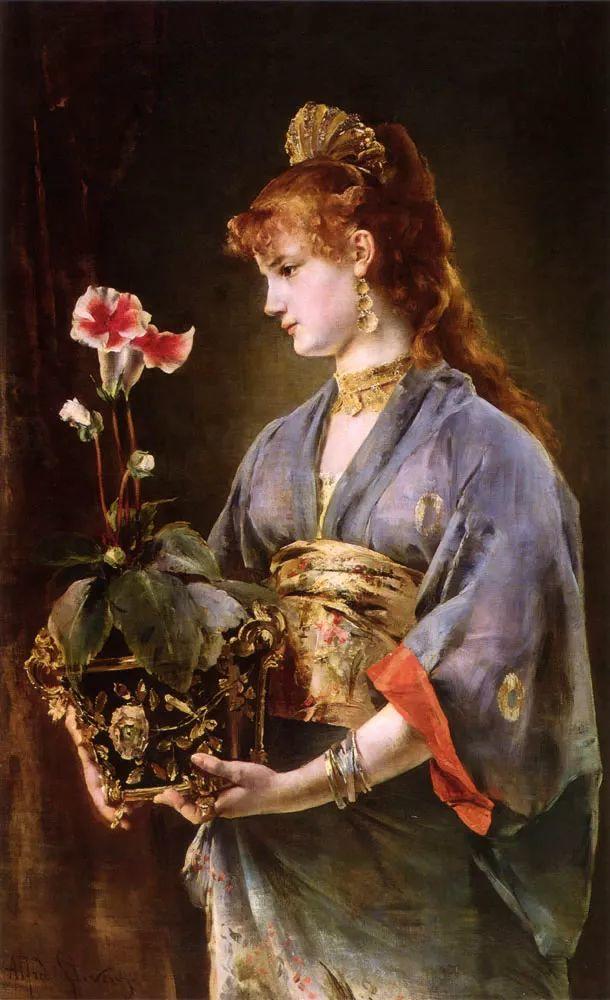 画中女子美丽优雅 个个身穿华丽有质感的服装插图107