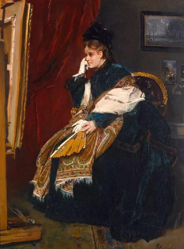 画中女子美丽优雅 个个身穿华丽有质感的服装插图111