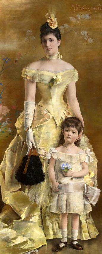 画中女子美丽优雅 个个身穿华丽有质感的服装插图113