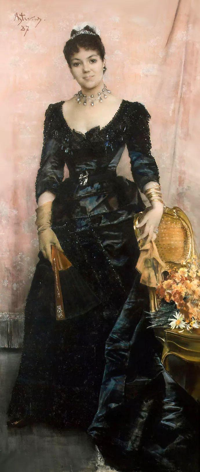 画中女子美丽优雅 个个身穿华丽有质感的服装插图115