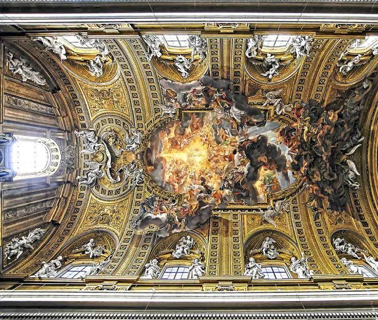 罗马教堂天顶绘画插图7
