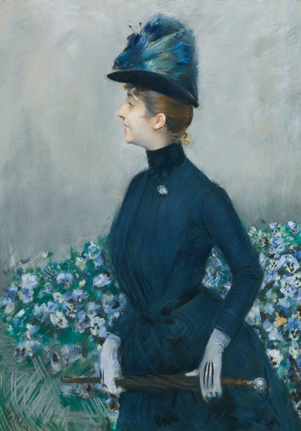 他的作品多为巴黎当红女郎的肖像插图