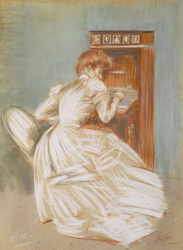 他的作品多为巴黎当红女郎的肖像插图33