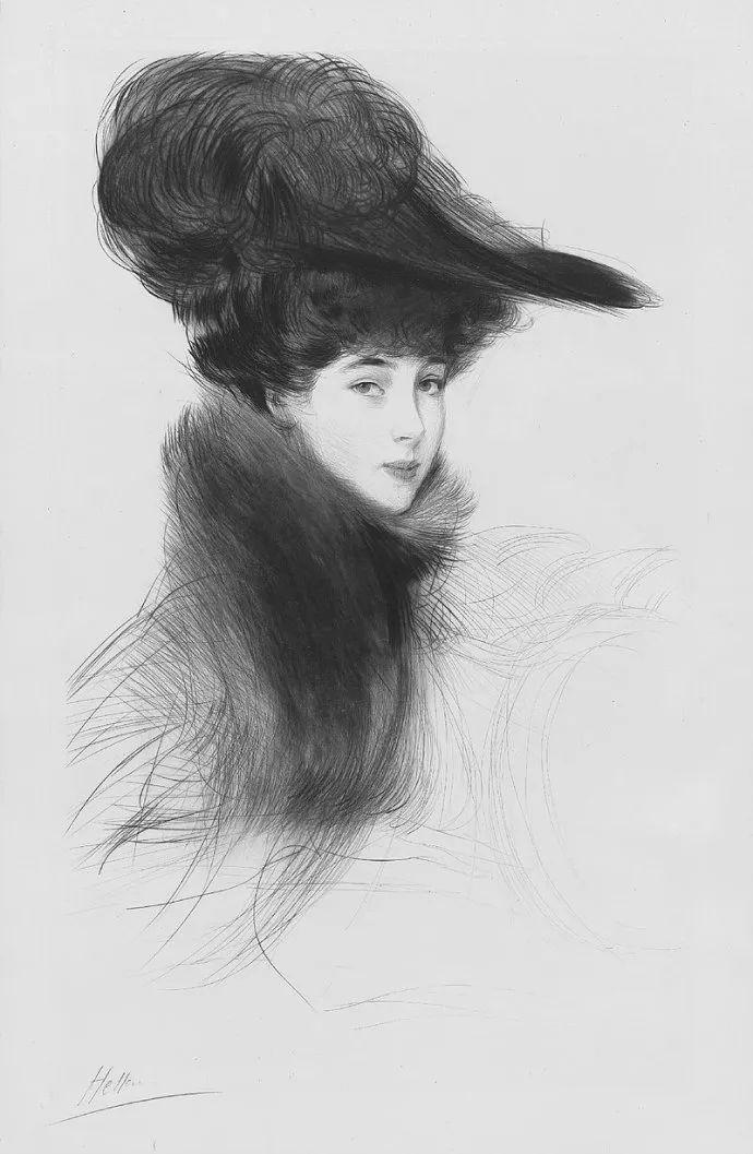 他的作品多为巴黎当红女郎的肖像插图48