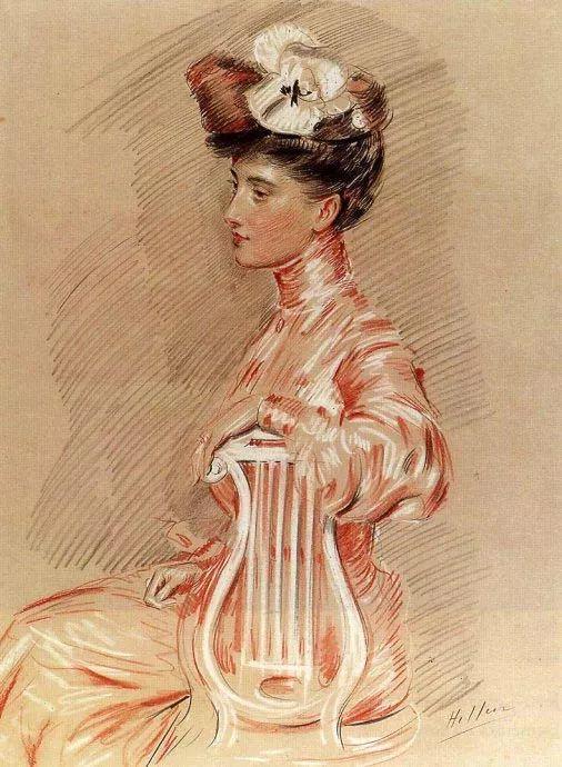 他的作品多为巴黎当红女郎的肖像插图52