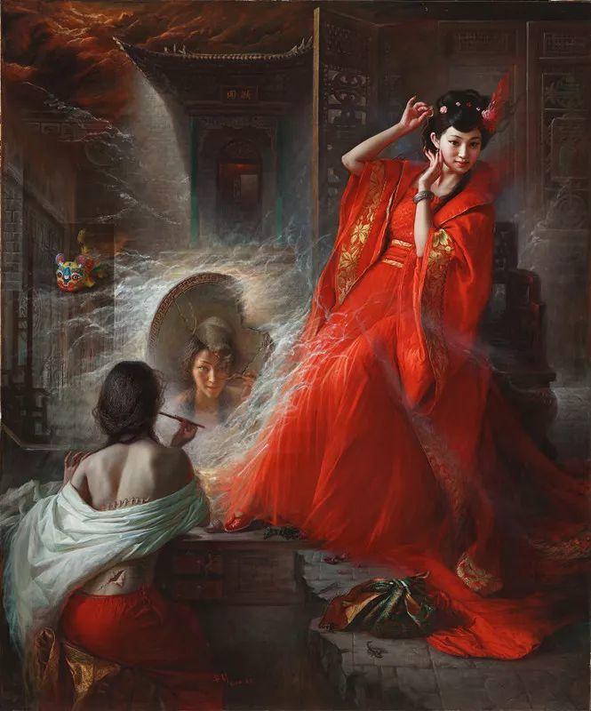 色彩斑斓的神鬼狐妖——安静聊斋油画插图1