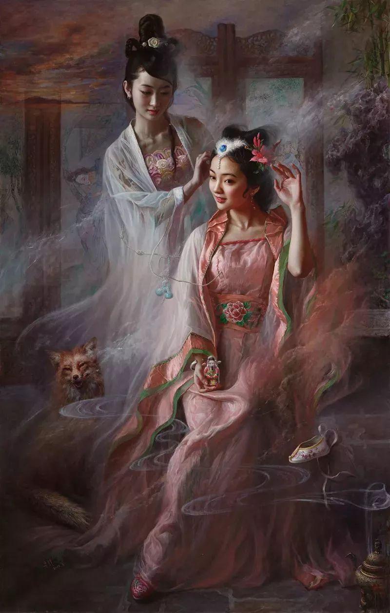 色彩斑斓的神鬼狐妖——安静聊斋油画插图23