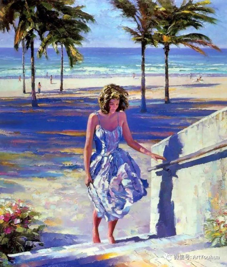 海滩风情油画 美国画家Howard Behrens插图