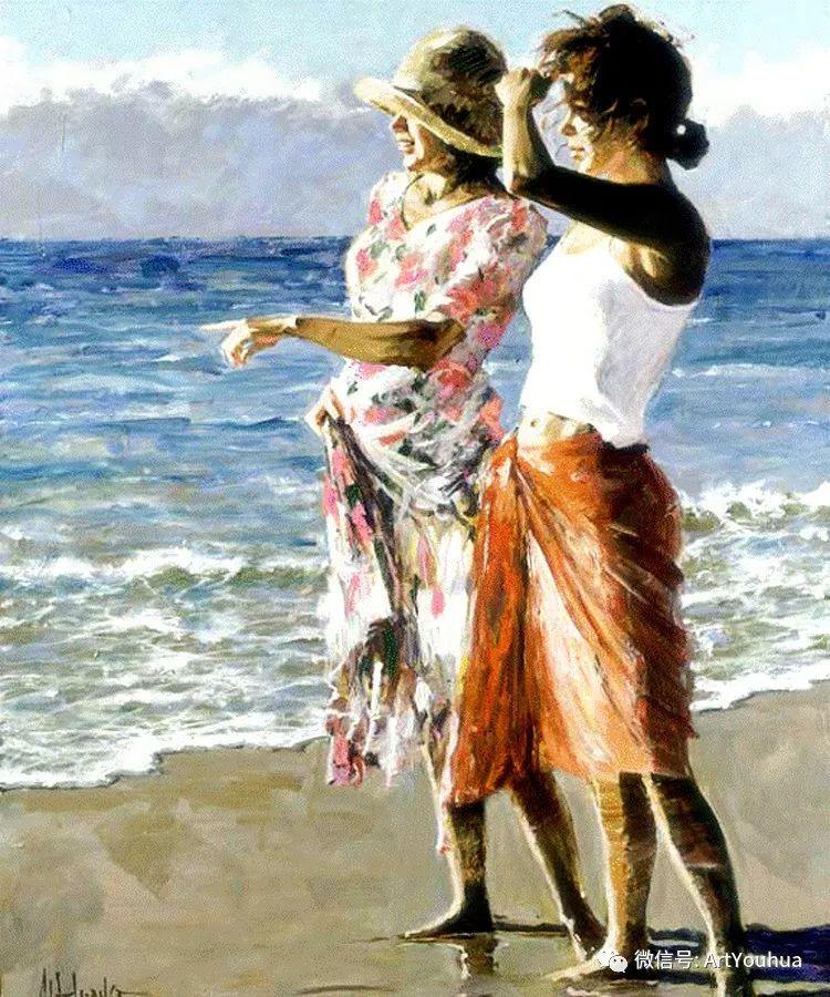 海滩风情油画 美国画家Howard Behrens插图1