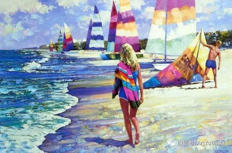 海滩风情油画 美国画家Howard Behrens插图15