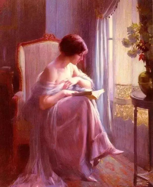 灯下优雅年轻女性 法国画家Delphin Enjolras插图1