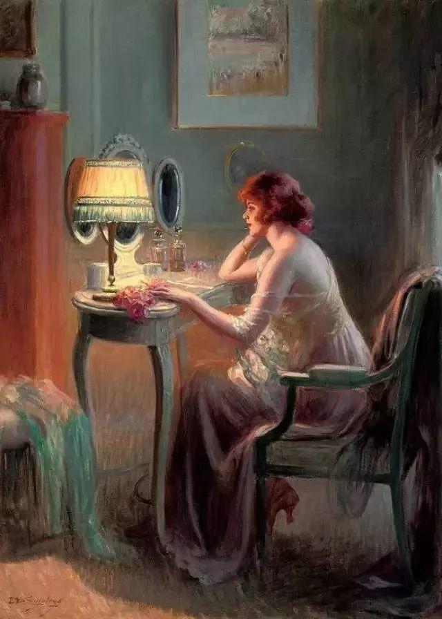 灯下优雅年轻女性 法国画家Delphin Enjolras插图3