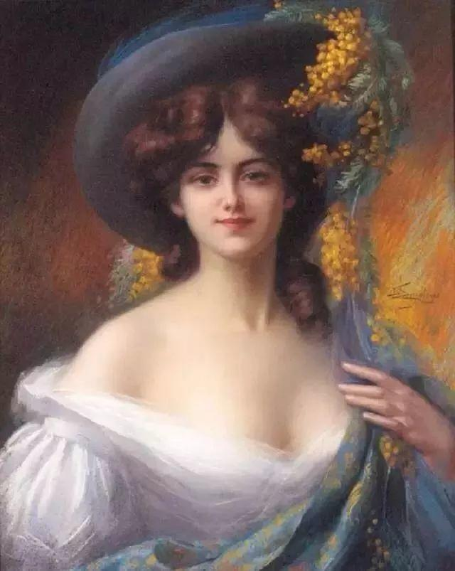 灯下优雅年轻女性 法国画家Delphin Enjolras插图5