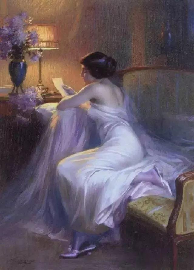 灯下优雅年轻女性 法国画家Delphin Enjolras插图7