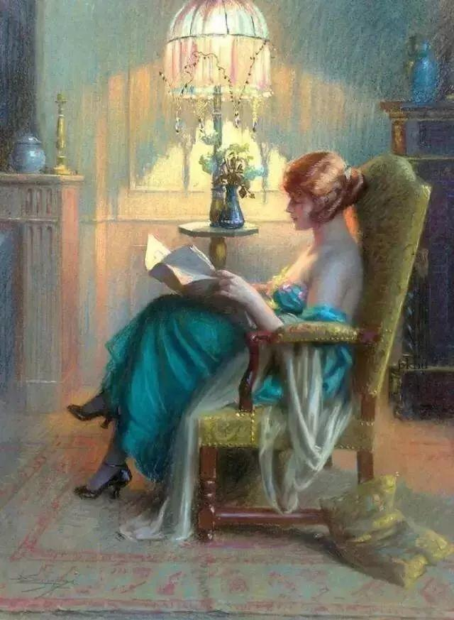 灯下优雅年轻女性 法国画家Delphin Enjolras插图9