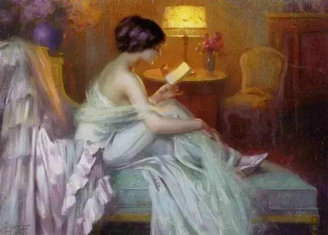 灯下优雅年轻女性 法国画家Delphin Enjolras插图13