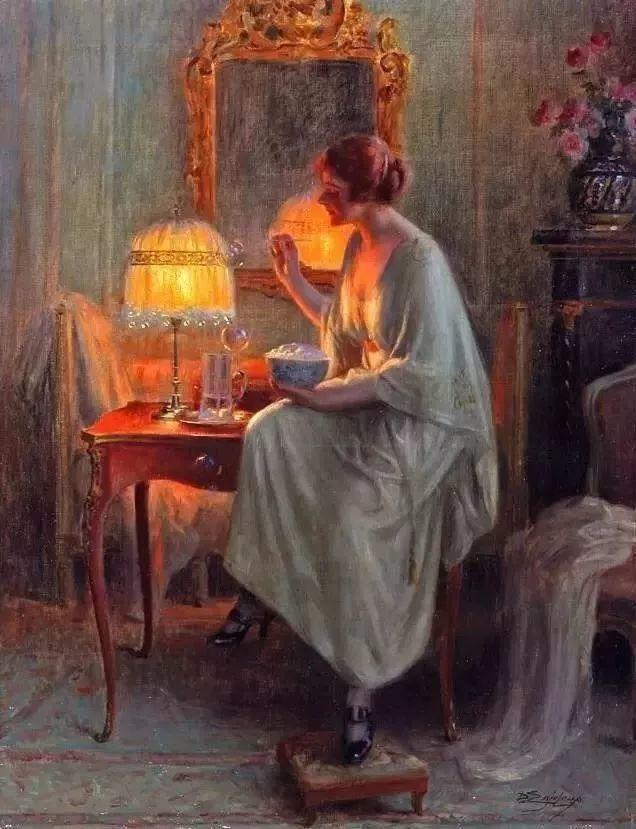 灯下优雅年轻女性 法国画家Delphin Enjolras插图15