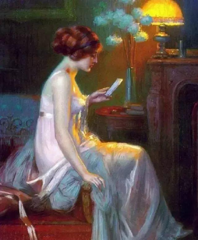 灯下优雅年轻女性 法国画家Delphin Enjolras插图17