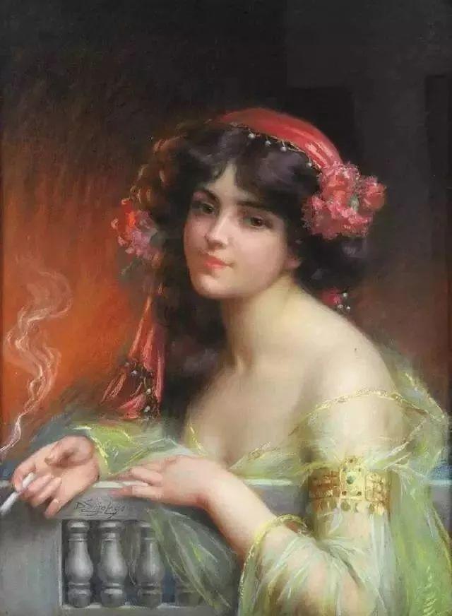 灯下优雅年轻女性 法国画家Delphin Enjolras插图19