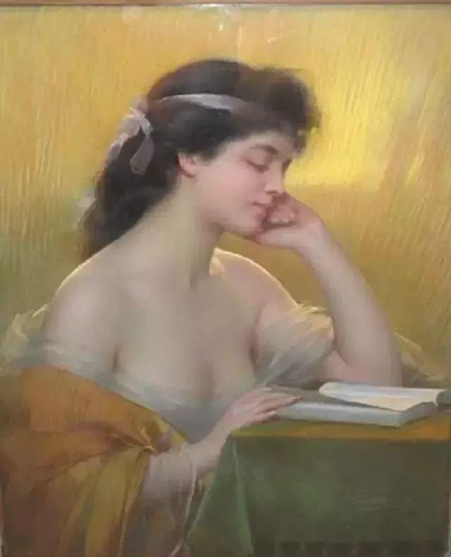 灯下优雅年轻女性 法国画家Delphin Enjolras插图21