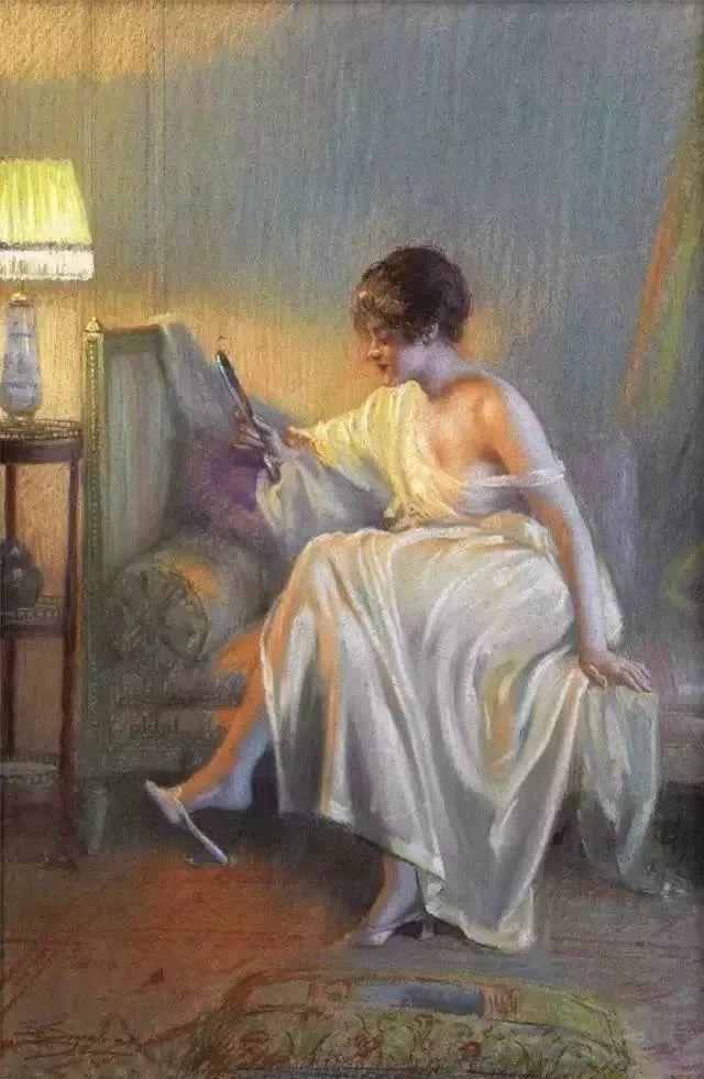 灯下优雅年轻女性 法国画家Delphin Enjolras插图23