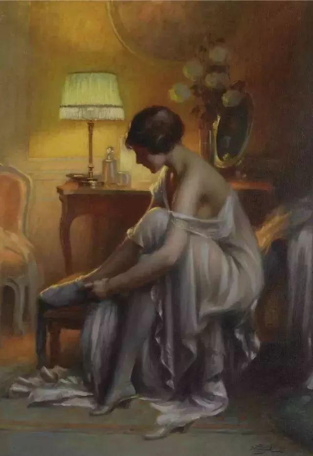 灯下优雅年轻女性 法国画家Delphin Enjolras插图25