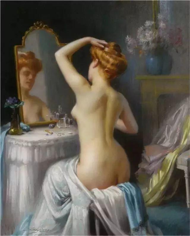 灯下优雅年轻女性 法国画家Delphin Enjolras插图29