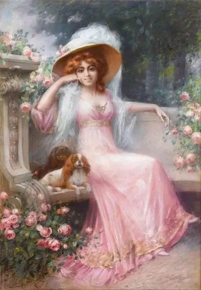 灯下优雅年轻女性 法国画家Delphin Enjolras插图31