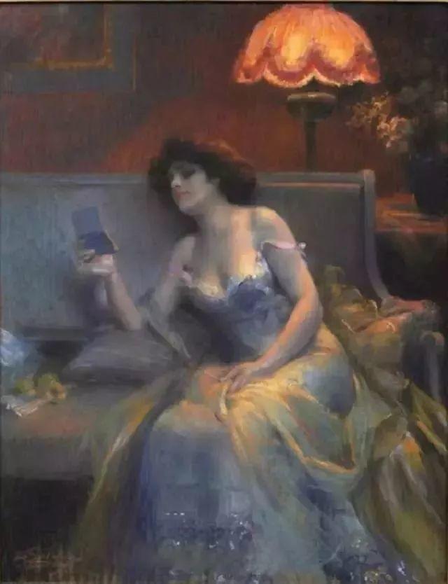 灯下优雅年轻女性 法国画家Delphin Enjolras插图33