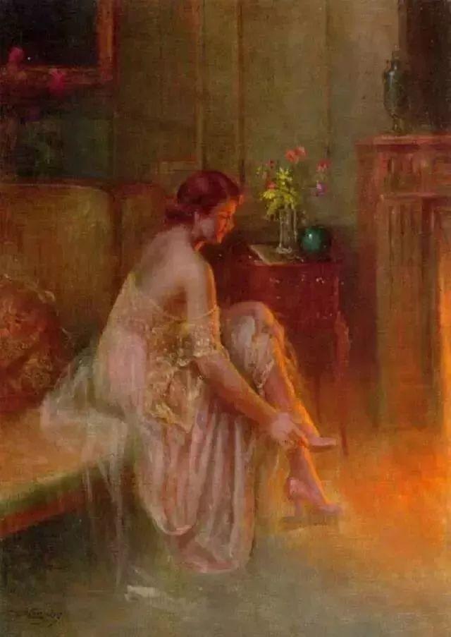灯下优雅年轻女性 法国画家Delphin Enjolras插图35