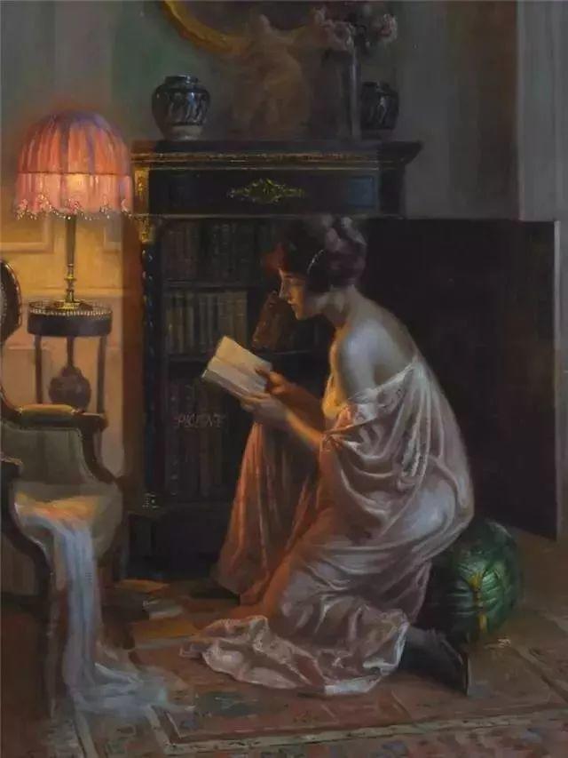灯下优雅年轻女性 法国画家Delphin Enjolras插图37